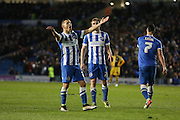 Brighton central midfielder, Beram Kayal (7) celebrates the 4th goal during the Sky Bet Championship match between Brighton and Hove Albion and Fulham at the American Express Community Stadium, Brighton and Hove, England on 15 April 2016. Photo by Phil Duncan.