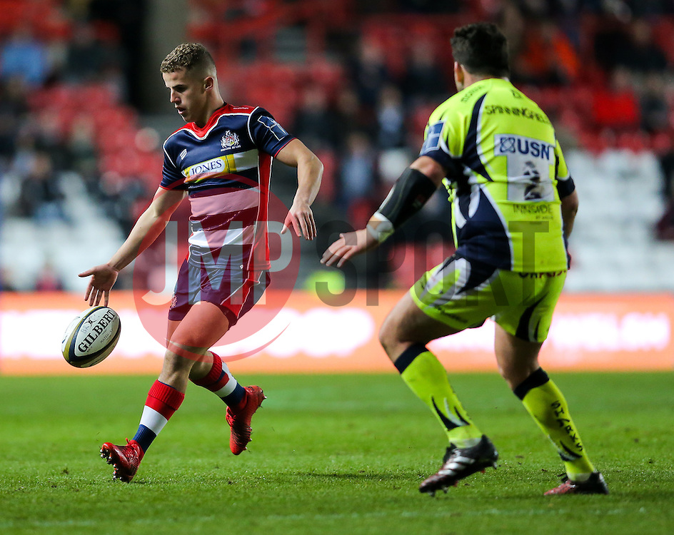 Billy Searle of Bristol Rugby chips through - Rogan Thomson/JMP - 11/11/2016 - RUGBY UNION - Ashton Gate Stadium - Bristol, England - Bristol Rugby v Sale Sharks - Anglo Welsh Cup.