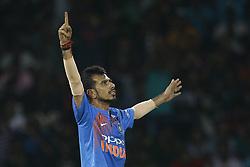 March 18, 2018 - Colombo, Sri Lanka - Indian cricketer Yuzvendra Chahal celebrates  during the final Twenty-20 cricket match of NIDAHAS Trophy  between Bangladesh and India at R Premadasa cricket ground, Colombo, Sri Lanka on Sunday 18 March 2018. (Credit Image: © Tharaka Basnayaka/NurPhoto via ZUMA Press)