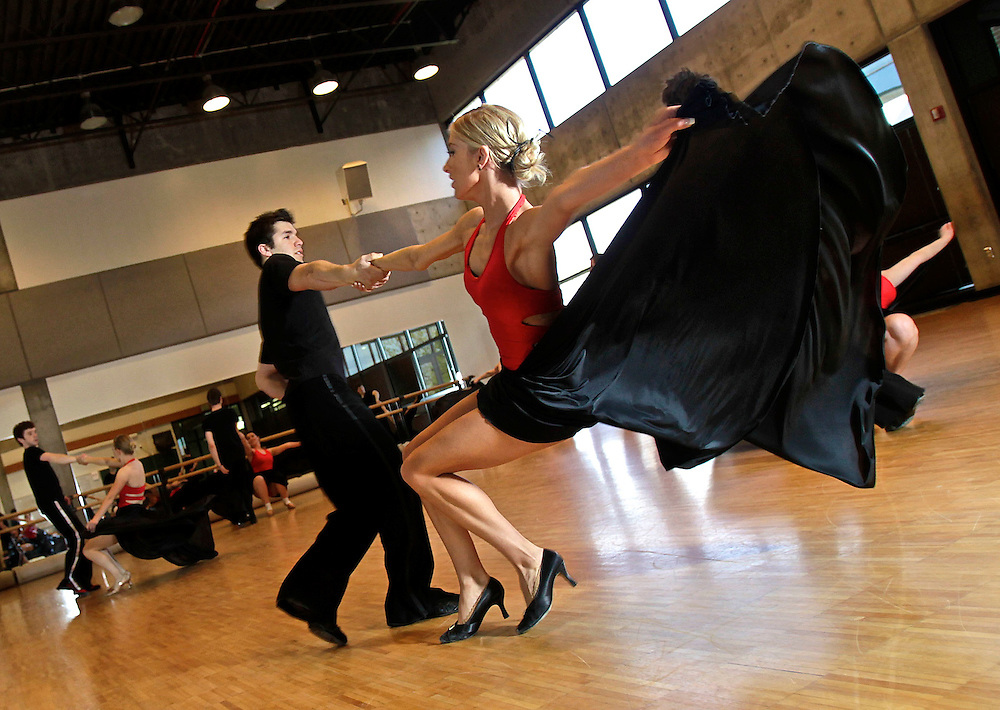 "Alayne Wadsworth (cq) and her partner Josh Murillo, both of Orem along with other members of the Utah Valley University ballroom dance team practice for a live appearance on the popular ABC show ""Dancing with the Stars"" on Tuesday. The practice was held at UVU in Orem, Utah, Saturday, May 15, 2010 . August Miller, Deseret News ."