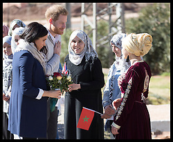 February 24, 2019 - Asni, Morocco - Image Licensed to i-Images Picture Agency. 24/02/2019. Asni, Morocco. Prince Harry and Meghan Markle, The Duke and Duchess of Sussex during a visit to a boarding house in Asni on day two of their tour of Morocco. (Credit Image: © Stephen Lock/i-Images via ZUMA Press)