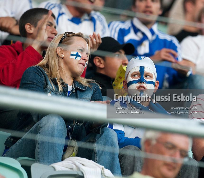 Suomalaisfanit. Suomi - Espanja. Alle 21-vuotiaiden EM-turnaus, Gamla Ullevi, Göteborg, Ruotsi 22.6.2009. Photo: Jussi Eskola