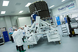 November 1, 2018 - Thales, UK - Spacebus Neo is a new telecom satellite product line by Thales Alenia Space, developed under ESA's Neosat programme. Its first new electric propulsion module is seen in Thales UK's Belfast assembly centre before being shipped to Cannes for final spacecraft assembly. This first satellite will be Eutelsat's KONNECT, which will provide broadband to Europe and Africa. The new Spacebus Neo product line is developed in the frame of ESA's Advanced Research in Telecommunications Systems (ARTES) programme, in cooperation with space agencies from ESA Member States, particularly CNES and the UK Space Agency. The Neosat programme comprises both Spacebus Neo by Thales Alenia Space and Eurostar Neo by Airbus Defence and Space. It includes development and in-orbit validation of the new satellite product lines for both companies, allowing the two European satellite prime integrators to deliver competitive satellites for the commercial satellite market.<br /> <br />  (Credit Image: ? ESA/ZUMA Wire/ZUMAPRESS.com)