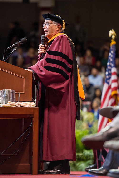 May 6, 2016 - BOSTON, MA. - May 6, 2016 - Northeastern University celebrated its 114th Commencement on May 6, 2016. President Joseph E. Aoun led the graduate ceremony, which was held in Matthews Arena at Northeastern in Boston. Charles Elachi, director of the NASA Jet Propulsion Laboratory and a vice president and professor of electrical engineering and planetary science at the California Institute of Technology, delivered the Commencement address and received an honorary degree. Photo by Billie Weiss for Northeastern University