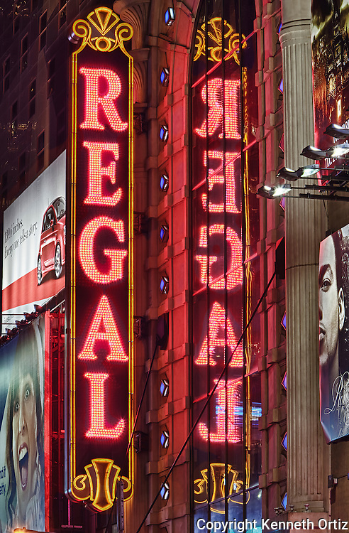 A close-up of the Regal sign on 42nd Street Times Square, New York City.