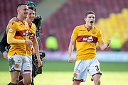 Jake Hastie (#35) of Motherwell FC celebrates at the final whistle during the Ladbrokes Scottish Premiership match between Motherwell FC and Heart of Midlothian FC at Fir Park, Stadium, Motherwell, Scotland on 17 February 2019.