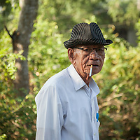 A man on the main street in Thủy Phư commune near Hue, Vietnam.