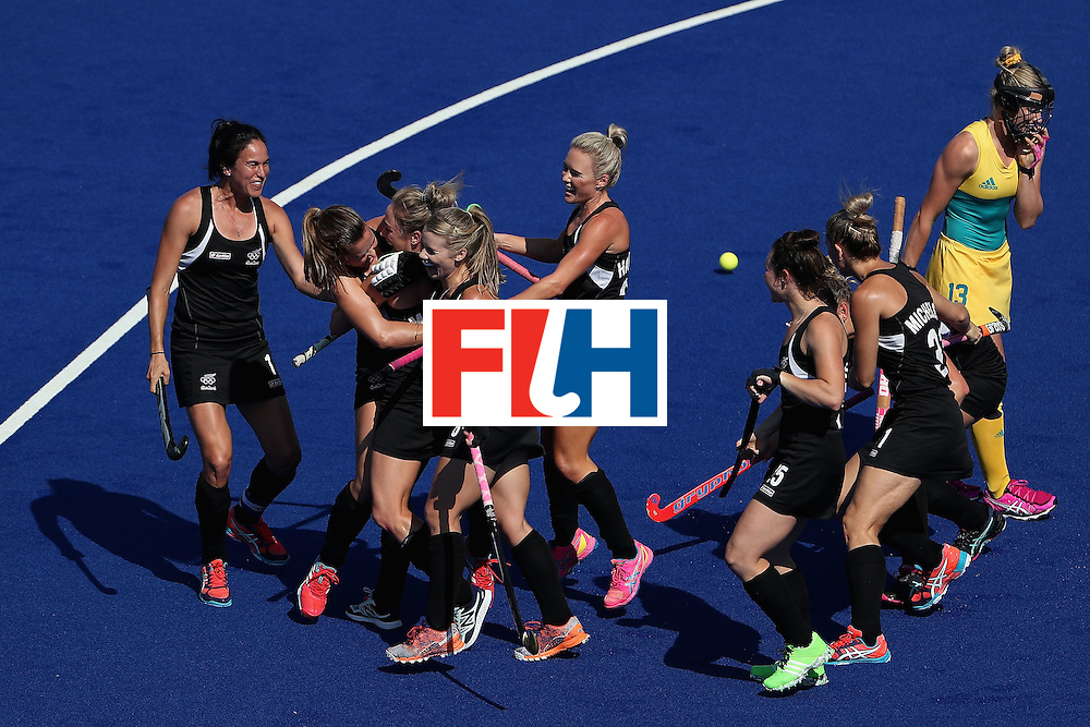 RIO DE JANEIRO, BRAZIL - AUGUST 15:  Anita Mclaren #32 of New Zealand celebrates with teammates after scoring a first half goal against Australia during the quarter final hockey game on Day 10 of the Rio 2016 Olympic Games at the Olympic Hockey Centre on August 15, 2016 in Rio de Janeiro, Brazil.  (Photo by Christian Petersen/Getty Images)