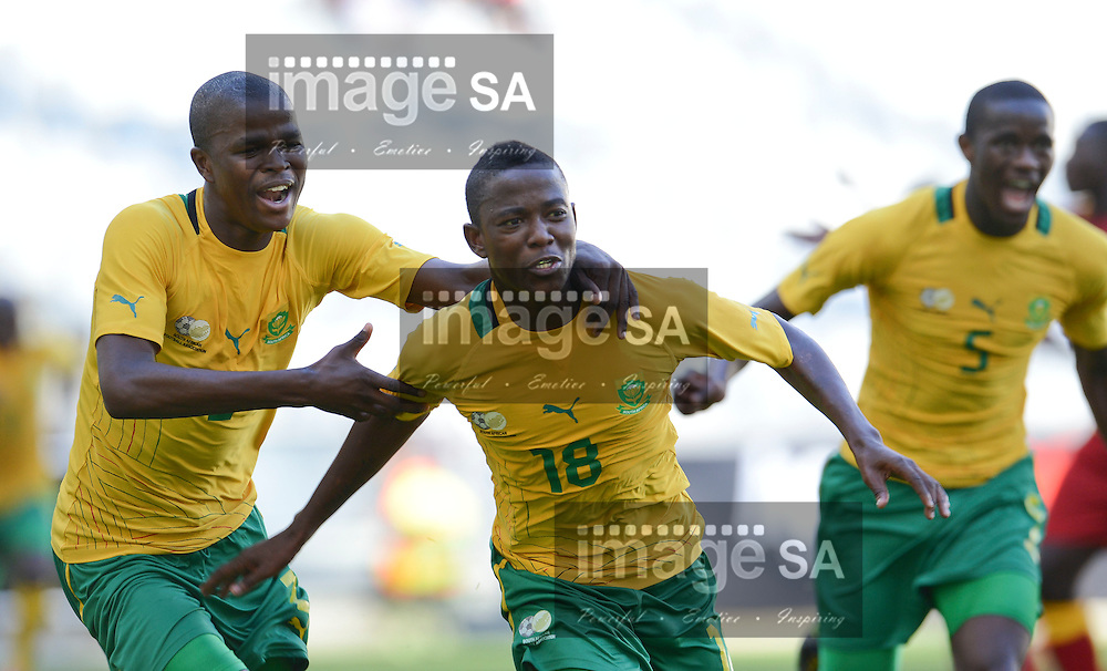 CAPE TOWN, SOUTH AFRICA: Sunday 27 May 2012, THABANI MTHEMBU of South Africa celebrates his goal during the under 20 Cape Town International Soccer Challenge at the Cape Town Stadium..Photo by Roger Sedres/ImageSA