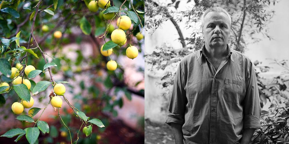 Greek writer Sotiris Dimitriou photographed at his garden for Tahidromos magazine - Greece
