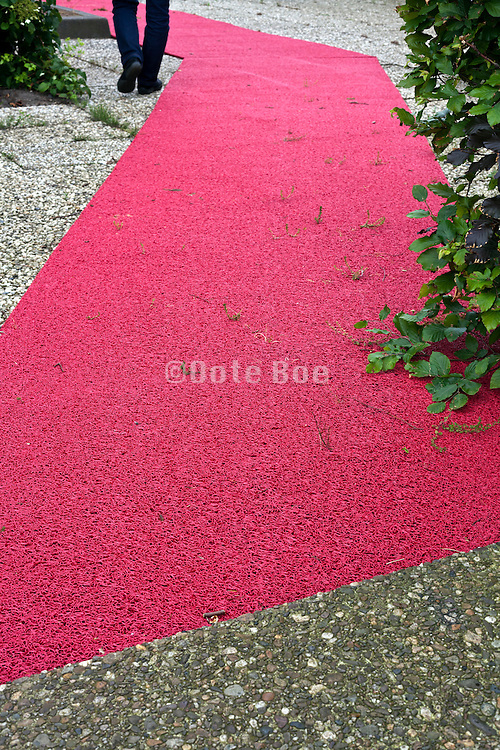 old plastic red carpet with grass growing between it and person walking beside it