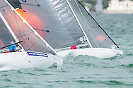 MIAMI - January 29, 2015.  Approaching the mark in the Paralympic 2.4 metre class at the 2015 ISAF Sailing World Cup in Miami.