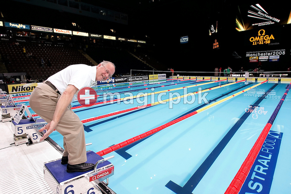 Peter Huerzeler of Switzerland poses in the Duncan Goodhew pool at the FINA Swimming World Championships (25m) in Manchester, Great Britain, Saturday, April 12, 2008. (Photo by Patrick B. Kraemer / MAGICPBK)