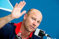 LONDEN - De bondscoach van de vrouwen van Groot Brittannie, Danny Kerry, tijdens de persconferentie na het behalen van het brons op de Olympische Spelen. ANP KOEN SUYK