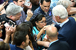 Former President Bill Clinton receives a hand kiss as he greets voters at the rope line after speaking in the Philadelphia, Pennsylvania suburbs during a Stronger Together campaign rally in support of his wife Hillary Clinton, the Democratic presidential nominee in the race for the 2016 U.S. Presidential Elections.