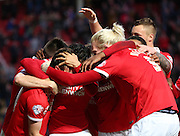 Charlton showed their team spirit during the 3-1- win during the Sky Bet Championship match between Charlton Athletic and Sheffield Wednesday at The Valley, London, England on 7 November 2015. Photo by Matthew Redman.