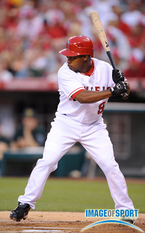 Apr 28, 2007; Anaheim, CA, USA; Los Angeles Angels second baseman Chone Figgins (9) bats during 14-2 loss to the Oakland Athletics at Angel Stadium. Mandatory Credit: Kirby Lee/Image of Sport-US PRESSWIRE