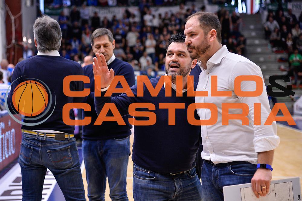 Alessandro Magro, Andrea Diana<br /> Banco di Sardegna Dinamo Sassari - Germani Basket Leonessa Brescia<br /> Legabasket Serie A LBA PosteMobile 2017/2018<br /> Sassari, 08/04/2018<br /> Foto L.Canu / Ciamillo-Castoria