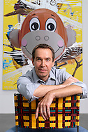 UK. London. New works by artist Jeff Koons go on show in London. Photograph shows his 'Hulk Elvis' work being hung in the Gagosian Gallery in Britannia Street.<br /> Photo shows the the artist Jeff Koons.<br /> Steve Forrest/Insight for The New York Times<br /> Tel: +44 (0)20 7253 2982
