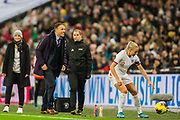 A moment of humour between Phil Neville, Head Coach of England FC & Alex Greenwood (England) during the International Friendly match between England Women and Germany Women at Wembley Stadium, London, England on 9 November 2019.