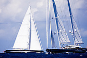 Kokomo and Twizzle sailing in the Caribbean Superyacht Regatta and Rendezvous, race 1.