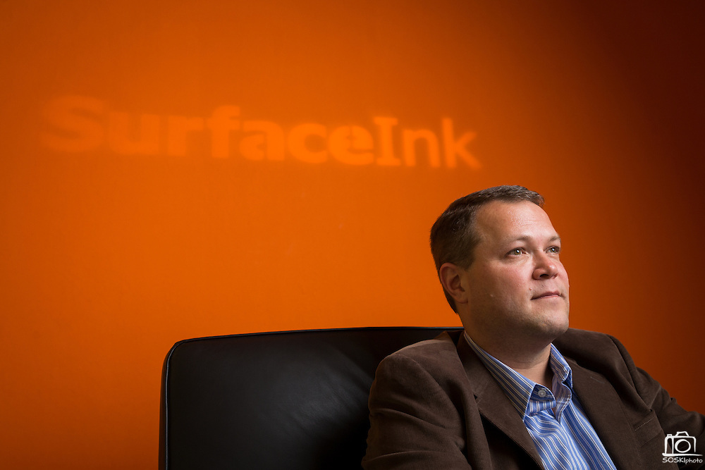 Eric Bauswell, Founder and CEO of SurfaceInk, poses for a portrait at SurfaceInk in San Jose, California, on November 29, 2016. (Stan Olszewski/SOSKIphoto for Content Magazine)