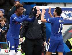 Chelsea's Pedro is substituted for Callum Hudson-Odoi during the Emirates FA Cup, Fourth Round match at Stamford Bridge, London.