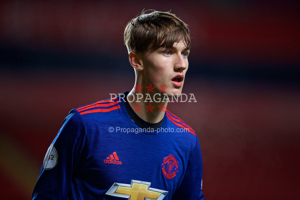 LIVERPOOL, ENGLAND - Monday, January 16, 2017: Manchester United's Callum Gribbin during the FA Premier League 2 Division 1 Under-23 match against Liverpool at Anfield. (Pic by David Rawcliffe/Propaganda)