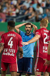 August 22, 2018 - Bronx, New York, United States - New York City forward DAVID VILLA (7) upset about a shot that hit the post in the end of the first half during a regular season match at Yankee Stadium in Bronx, NY.  New York City FC tie the New York Red Bulls 1 to 1 (Credit Image: © Mark Smith via ZUMA Wire)