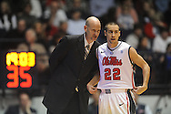 "Ole Miss head coach Andy Kennedy and Ole Miss' Marshall Henderson (22) vs. Missouri at the C.M. ""Tad"" Smith Coliseum on Saturday, January 12, 2013. Ole Miss defeated #10 ranked Missouri 64-49."