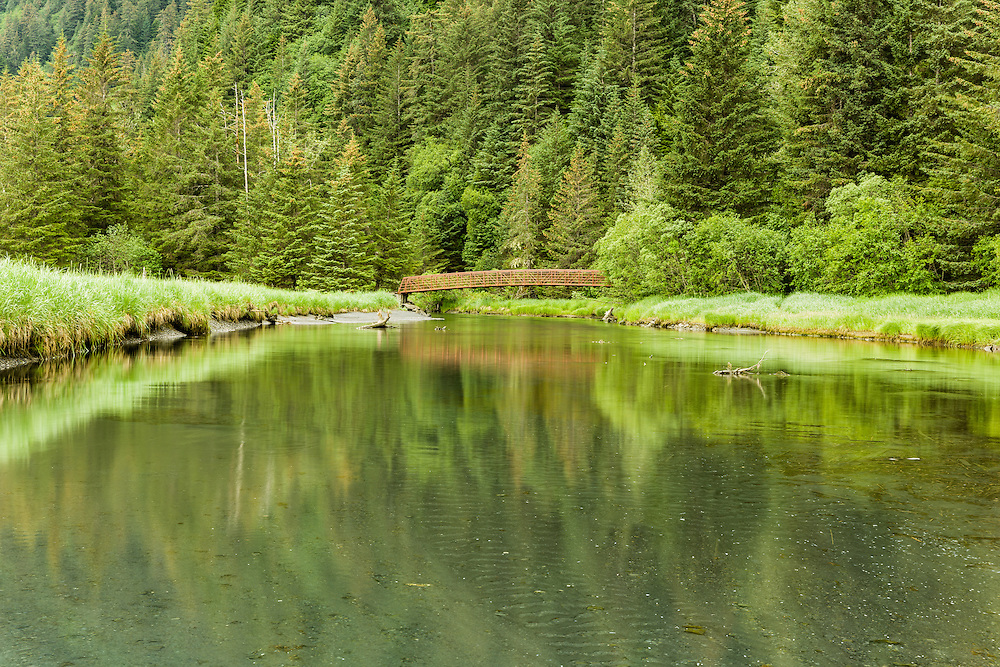 The foot bridge for Caines Head Trail over Tonsina Creek is reflected in the stream at Tonsina Point near Seward in Southcentral Alaska. Summer. Afternoon.