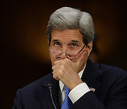 3/11/15 9:47:54 AM -- Washington, DC, U.S.A  -- Secretary Of State John F. Kerry testifies at a Senate Foreign Relations Committee hearing on The President's Request for Authorization to Use Force Against ISIL: Military and Diplomatic Efforts.     Photo by H. Darr Beiser, USA TODAY Staff ORG XMIT:  HB 132781 USE OF FORCE ISI 3/11/2015 [Via MerlinFTP Drop]