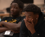 Minneapolis , MN -  April 27, 2015 - Alaon Mitchell listens as Marcellus Ellis speaks during the Black Male Student Achievement meeting inside South High School on Monday, April 27, 2015. Photo by Johnny Crawford/ Johnny Crawford Photography