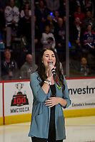 REGINA, SK - MAY 18: Jess Moskaluke sings the national anthem at the start of game one between Regina Pats and Hamilton Bulldogs at the Brandt Centre on May 18, 2018 in Regina, Canada. (Photo by Marissa Baecker/CHL images)