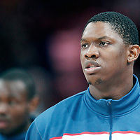15 July 2012: Kevin Seraphin of Team France warms up prior to a pre-Olympic exhibition game won 75-70 by Spain over France, at the Palais Omnisports de Paris Bercy, in Paris, France.