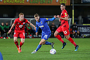AFC Wimbledon attacker Marcus Forss (15) dribbling during the Leasing.com EFL Trophy match between AFC Wimbledon and Leyton Orient at the Cherry Red Records Stadium, Kingston, England on 8 October 2019.