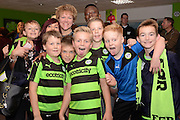 Man of the Match Forest Green Rovers midfielder Drissa Traore (4) with fans during the Vanarama National League match between Forest Green Rovers and Dagenham and Redbridge at the New Lawn, Forest Green, United Kingdom on 29 October 2016. Photo by Alan Franklin.