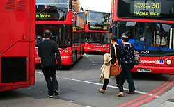 ©  London News Pictures 05/05/2011. Buses stack up at King's Cross. The A501 Euston Road Underpass is closed westbound due to an traffic incident. 05/05/2011  Westbound traffic at Euston Underpass is being diverted via Gower Street causing heavy congestion around the surrounding roads. A white box van involved in the incident remains on the westbound lane of the Euston Underpass, both westbound entrance and exit ramps are covered with fuel or oil, the underpass remains closed. Photo Credit should read: Simon Lamrock/LNP