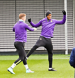 Joe Hart & Vincent Kompany of Manchester City  pictured training at the training session at The Etihad Campus ahead of the UEFA Champions League clash with FC Barcelona  - Photo mandatory by-line: Matt McNulty/JMP - Mobile: 07966 386802 - 23/02/2015 - SPORT - Football - Manchester - Etihad Stadium