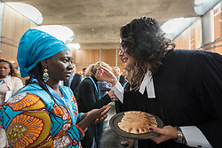 """28 June 2018, Geneva, Switzerland: A warm and joyful Eucharist service marked the opening of the Lutheran World Federation 2018 Council meeting on 28 June. The 2018 LWF Council meeting takes place in Geneva from 27 June - 2 July. The theme of the Council  is """"Freely you have received, freely give"""" (Matthew 10:8, NIV). The LWF Council meets yearly and is the highest authority of the LWF between assemblies. It consists of the President, the Chairperson of the Finance Committee, and 48 members from LWF member churches in seven regions."""