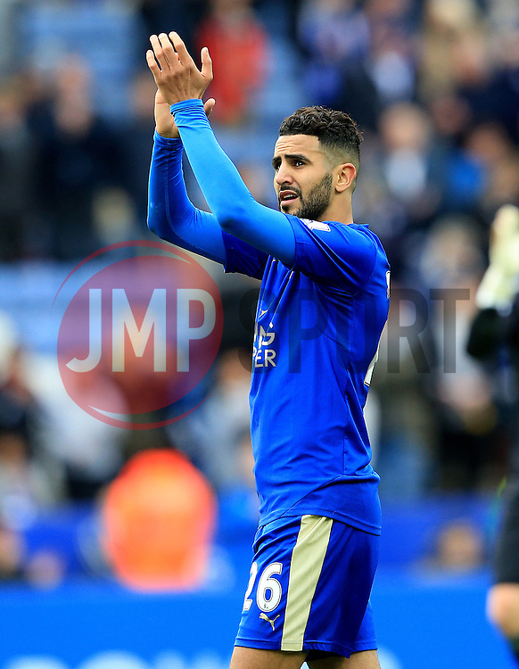 Riyad Mahrez of Leicester City applauds the fans - Mandatory by-line: Matt McNulty/JMP - 24/04/2016 - FOOTBALL - King Power Stadium - Leicester, England - Leicester City v Swansea City - Barclays Premier League