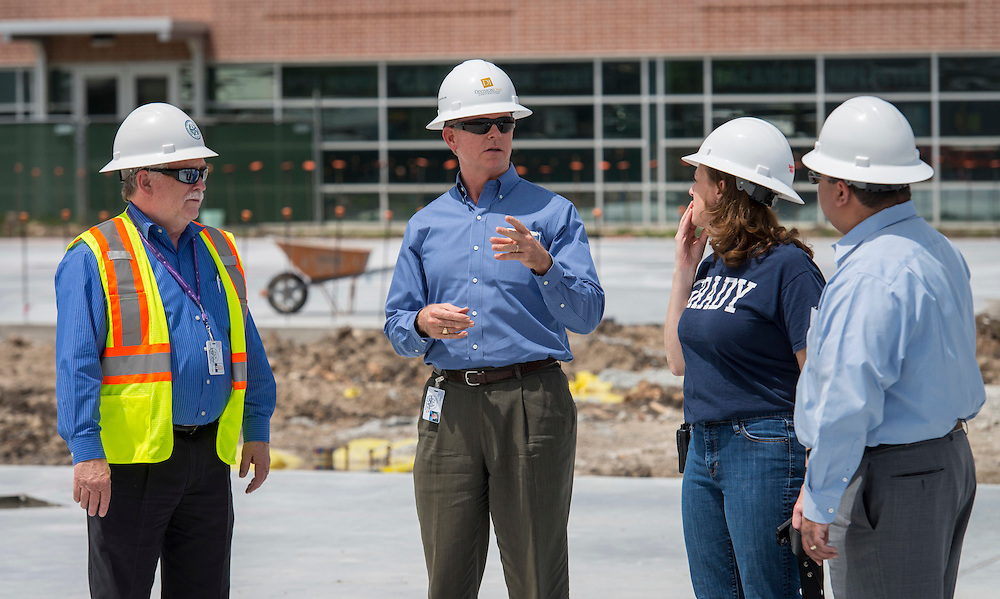 Houston ISD trustee Harvin Moore surveys the construction at Grady Middle School, April 20, 2015.