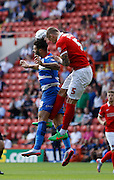 Morgan Fox looks to play a ball down the line from defence during the Sky Bet Championship match between Charlton Athletic and Queens Park Rangers at The Valley, London, England on 8 August 2015. Photo by Andy Walter.