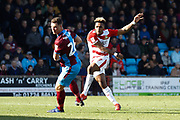 Doncaster Rovers forward Mallik Wilks (7), on loan from Leeds United scores a goal to make the score 0-1 during the EFL Sky Bet League 1 match between Scunthorpe United and Doncaster Rovers at Glanford Park, Scunthorpe, England on 23 February 2019.