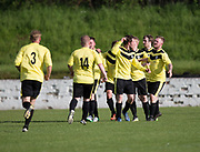 Charleston celebrate their equaliser - FC Kettledrum (green and white) v Charleston (yellow) in the Dundee Saturday Morning Football League George Mcarthur Memorial Cup Final at Glenesk, Dundee, Photo: David Young<br /> <br />  - &copy; David Young - www.davidyoungphoto.co.uk - email: davidyoungphoto@gmail.com