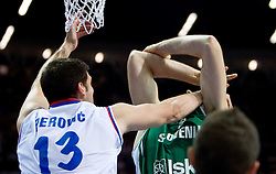 Kosta Perovic of Serbia vs Erazem Lorbek (15) of Slovenia during the EuroBasket 2009 Semi-final match between Slovenia and Serbia, on September 19, 2009, in Arena Spodek, Katowice, Poland. Serbia won after overtime 96:92.  (Photo by Vid Ponikvar / Sportida)