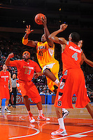 California center Markhuri Sanders-Frison #45 drives to the basket against the Syracuse Orangemen at the 2K Sports Classic at Madison Square Garden. (Mandatory Credit:Delane Rouse Photography)