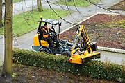 Hovenier snoeit heg in park met een machine