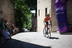 Chantal Blaak (NED) of boel rides near the top of the final climb of Stage 5 of the Giro Rosa - a 12.7 km individual time trial, starting and finishing in Sant'Elpido A Mare on July 4, 2017, in Fermo, Italy. (Photo by Balint Hamvas/Velofocus.com)