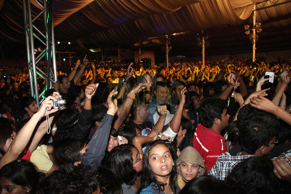 Fans during the opening night concert of the CLT20 held at the Bangalore Palace Grounds in Bangalore, Karnataka, India on the 22nd September 2011..Photo by Shaun Roy/BCCI/SPORTZPICS